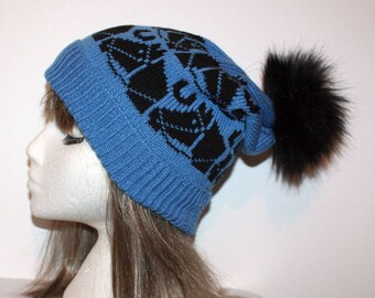 Blue with Black Horses Slouchy Beanie Hat and Faux Fur pompom