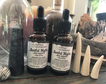 Sleep Support Herbal Tincture / Restful Night / Stress Anxiety Insomnia Restlessness / Gentle Sleep Aid / Valerian Chamomile Catnip
