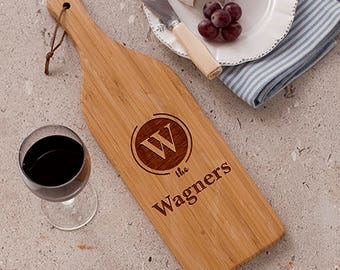 Personalized Engraved Initial and Name Large Wine Bottle Cutting Board Custom Name Gift