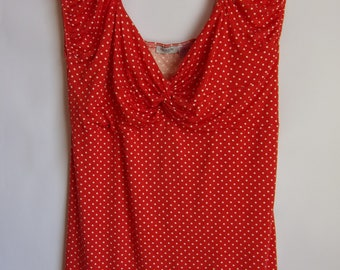 Vintage Women's Blouse/Red White Top/Polka Dot Blouse/Summer Top/Party Top/Sleeveless Top/Knitwear Blouse/Size M