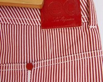 Women's Skirt/JEANS LES COPAINS Skirt/White Red Striped /Denim Skirt/Pockets/ Rivets/Zipper/Knee Lenght/Size M- L/Made in Italy