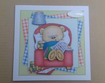 Cute male birthday card * Cute mens birthday card * Cute bear card