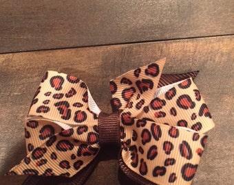 Cheetah print boutique hair bow
