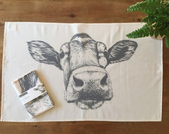 Guernsey cow natural cotton tea towel from pencil drawing