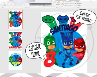 Personalized Pj Masks Digital Images for T shirt, Printable Iron On Transfer, Sticker custom, Office Word editable text and Font, B-day