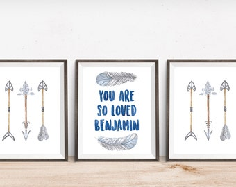 Blue and Grey You are So Loved Personalized Tribal Wall Art Nursery Boy Nursery Set DIGITAL