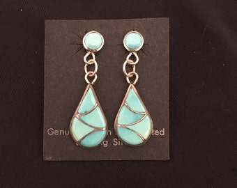 20% OFF SALE***Native American Inlaid Turquoise & Sterling Earrings