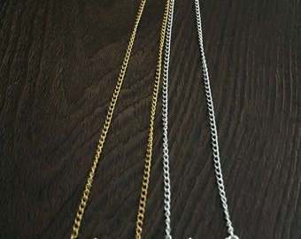 Silver & Gold plated Chain Necklace, Mountain Charm, Choker Necklace