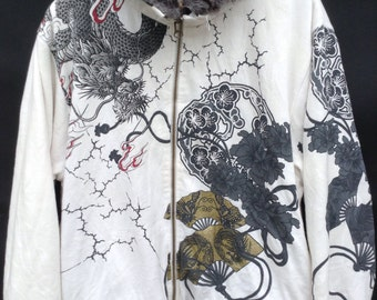 MEGA SALE !! Vintage Sukajan Jacket Over Print Pop Art Japanese Dragon With Fleece Sukajan Full Print