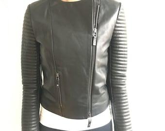 Classic Leather Biker Style Jacket- XS Black