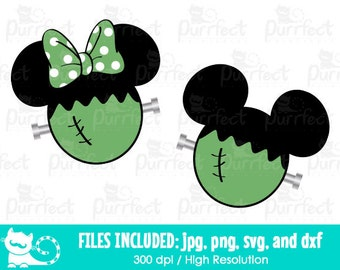 Mickey and Minnie Frankenstein SVG, Mickey and Minnie Monsters SVG, Disney Digital Cut Files in svg, dxf, png and jpg, Printable Clipart