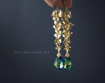 Swarovski Crystal Earrings with Gold Plated premium Class Details Swarovski Crystal Jewellery Teardrop Dangle Drop Earrings