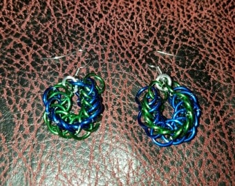 Chainmail jewelry earrings. Blue and green half persian.