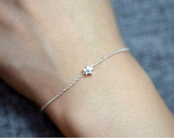 Tiny star bracelet//925 silver//Minimalist//Dainty//Delicate//Everyday//Friendship//SS006