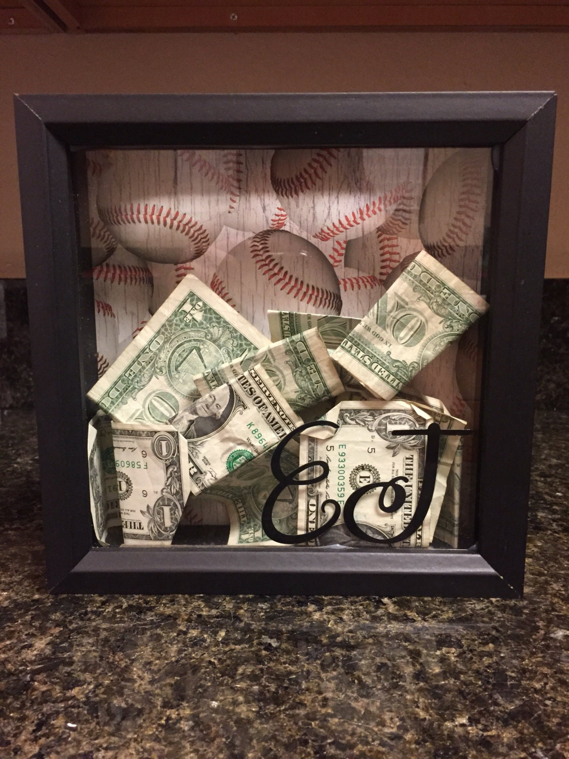 8x8 shadow box bank vacation fund savings personalized gift. Black Bedroom Furniture Sets. Home Design Ideas