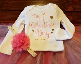 My 1st Valentine's Day!! Pink and glitter gold!