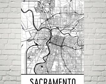 Sacramento Map, Sacramento CA Art, Sacramento Print, Sacramento CA Poster, Sacramento Wall Art, Map of Sacramento, Sacramento Decor, Gift