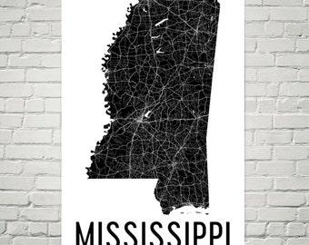 Mississippi State, Mississippi Map, Mississippi Art, Mississippi Gifts, Mississippi Print, Wall Art, Sign, Decor, Poster, Map of Mississippi