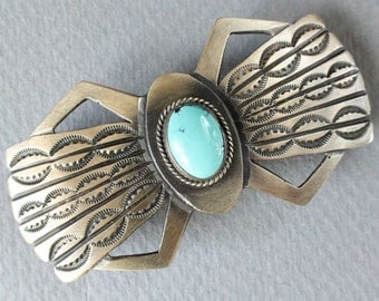 Turquoise Hair Clip Barrette Navajo Native American Indian Sterling Silver