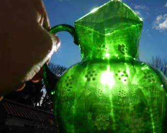 Handblown Glass Vase, Handpainted Green Glass Vase, White Daisies