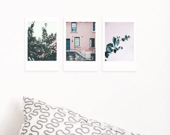 Special Offer! Set of 3 Printable Polaroid Photos| Pink Wall Decor| Eucalyptus| Boho Wall Hanging| Above Bed Decor| Tumblr Room Decor