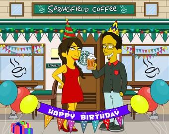 Simpsons Custom, Cartoon Portrait, Simpsons Portrait, Simpsons Drawing, Simpsons Art, Couple Portrait, Birthday Gift For Boyfriend