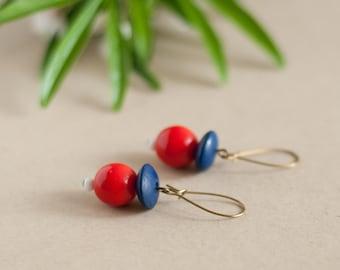 Vintage earrings, blue, white, red