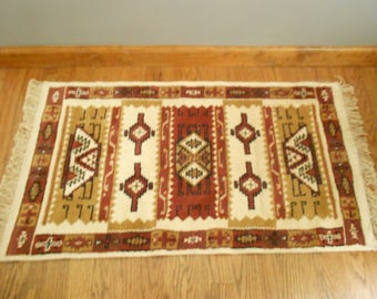 Mexican Throw Rug / Aztec Mexican Rug / Wall Hanging