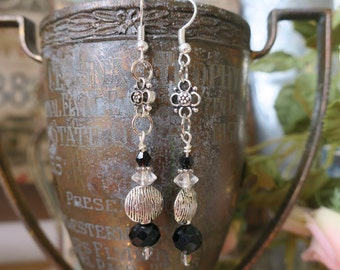 Silver black and crystal dangles