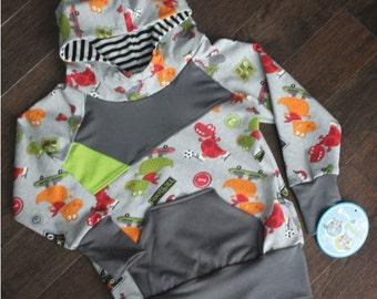 Cut & Sew Dino Sporty gray hoodie