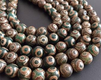 Tibetan Dzi Agate three eyes round beads,green colour,antique finish,Rustic Style,nature gemstone,6mm,8mm,10mm,12mm, full strands,one strand