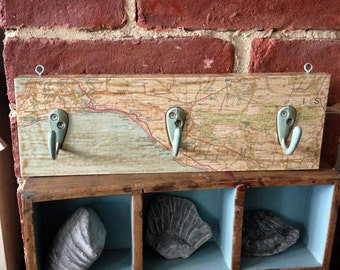 Hand Crafted Vintage Map Coat Hook