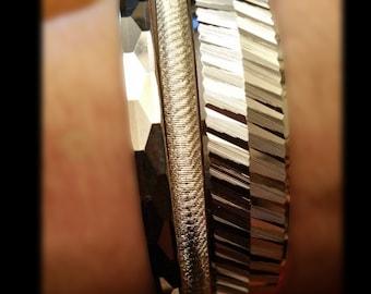 Vintagle Trifari M and Monet Silver Bracelets
