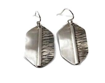 Argentium silver earrings, sterling silver earrings, hand forged earrings, hammered earrings, dangle earrings.