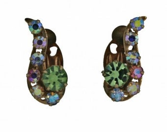 1960s Gold Tone Aurora Borealis Iridescent Rhinestone Vintage Earrings