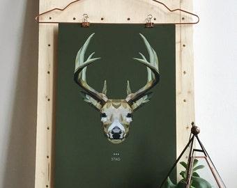 Stag Deer Lowpoly Fine Art Design Print   A3 & A5   Spirit Power Animal / Totem / Colour Psychology