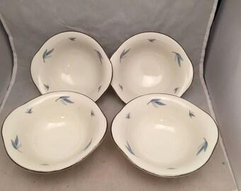 "Vintage Syracuse China Celeste Pattern 4 Sauce / Dessert Bowls - 5"""