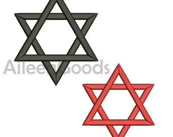 Jewish Star Embroidery  design 6 Size  INSTANT download machine embroidery