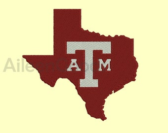 Texas A&M Embroidery design 7 Size  INSTANT download machine embroidery