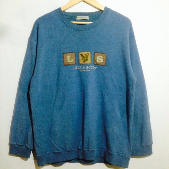 Rare! Vintage LYLE & SCOTT COLLECTION Embroidery Spellout Crew Neck Pullover Sweatshirt Light Blue Colour Large Size