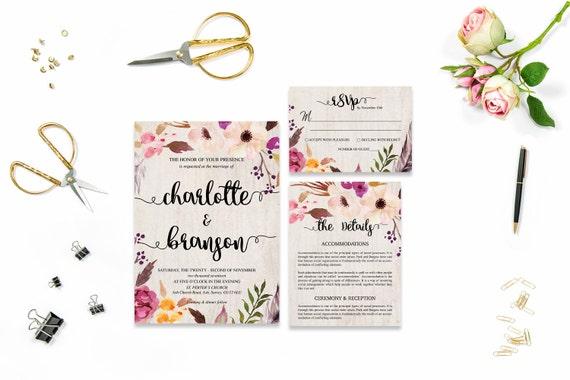 Flower wedding invite_37,Printable Wedding Invitation Suite,Wedding Invite Set,Wedding Printable,Calligraphy