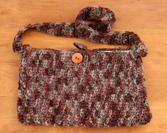 Crochet purse handbag shoulder bag lined multicolor camo