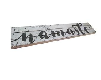 Namaste Sign//Yoga Gift//Inspirational Saying//Boho Decor//Buddhist Sign//Wooden Yoga Sign//Farmhouse Wood Sign//Buddhist Wall//Zen Decor