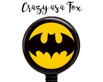 Batman Badge Reel,   Retractable ID Badge Holder, Super Hero Badge Reel, ID Badge Reel