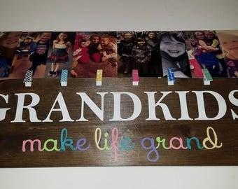 Grandkids make life grand/Picture Hanger/artwork hanger /rustic signs