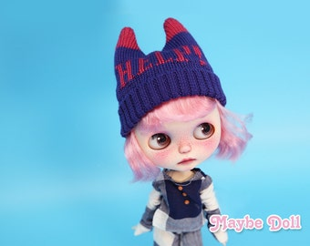 Knitted Woolen Cap for Neo Blythe-HELP! Letter Cap
