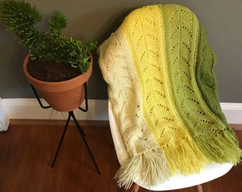 Vintage Green Yellow Ombre Throw Blanket - Handmade Decor