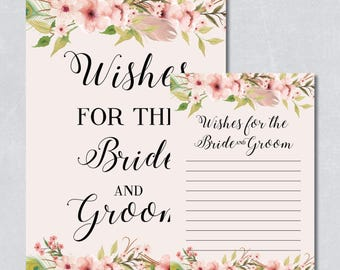 Wishes for the bride and groom card, floral bridal shower game, bohemian watercolor, pastel cream color, printable game, INSTANT DOWNLOAD