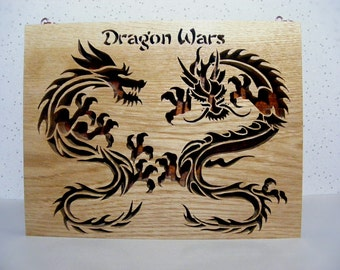 Dragon wars handmade plaque, scroll saw, wall hanging, gift, home décor, wall décor