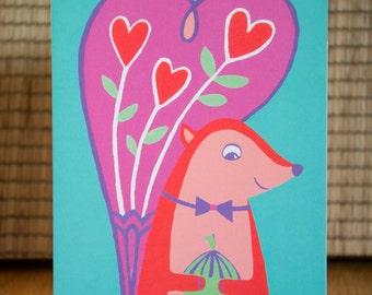 Squirrel Card - Squirrel Valentine Card, Squirrel Valentine's Card, Squirrel Mother's Day Card, Animal Card, Wildlife, FREE P&P!